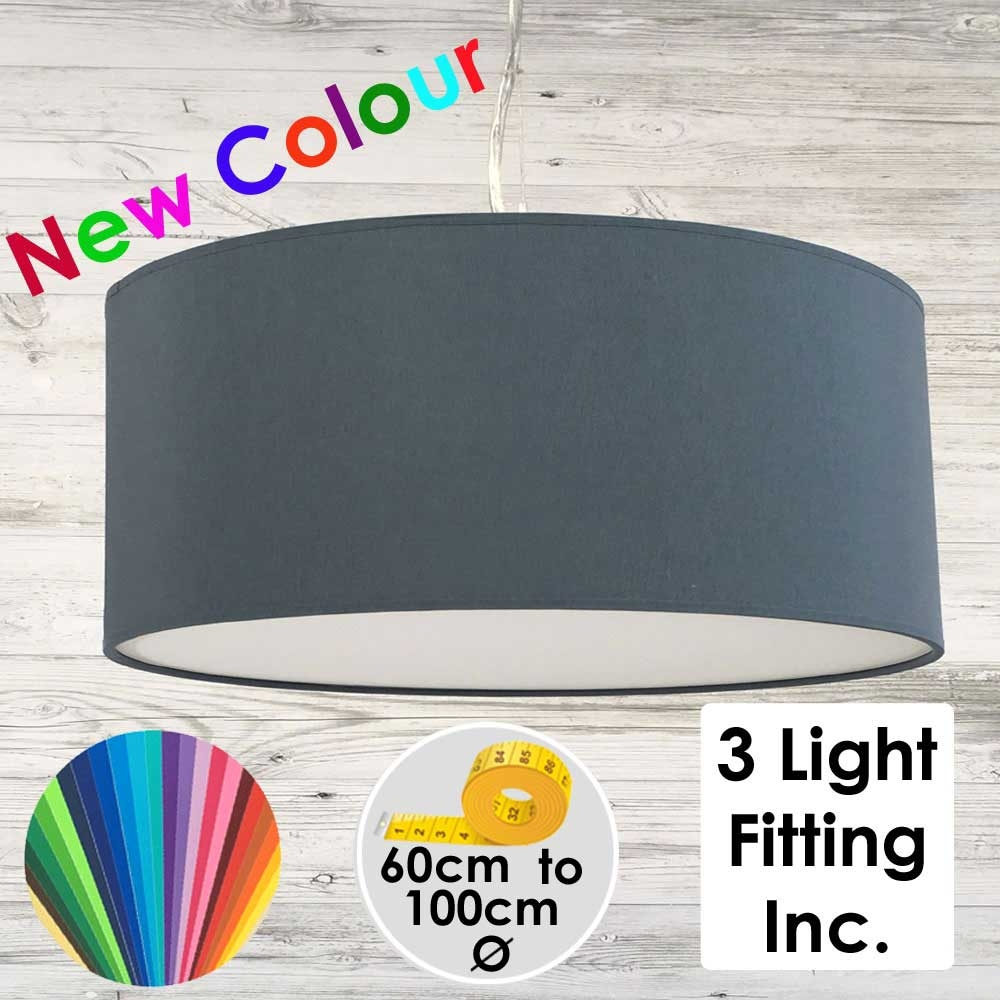 Blue Grey Drum Ceiling Light